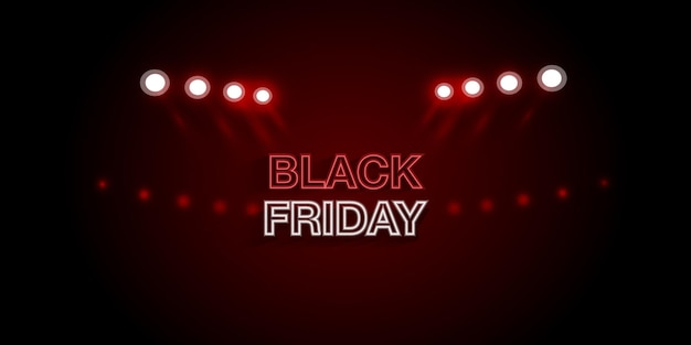 Black friday sale advertising banner with spotlights and realistic light.