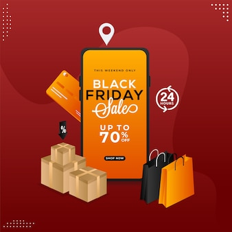 Black friday sale app in smartphone