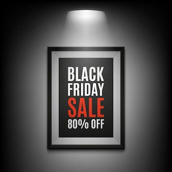 Black friday sale background. illuminated picture frame on black background.  illustration.