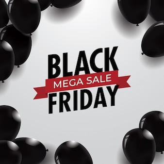 Black friday sale background template with balloons