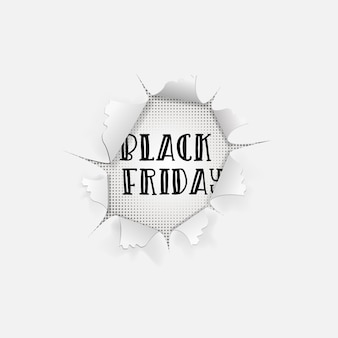 Черная пятница продажа фон. типографский баннер в дыре в белой бумаге