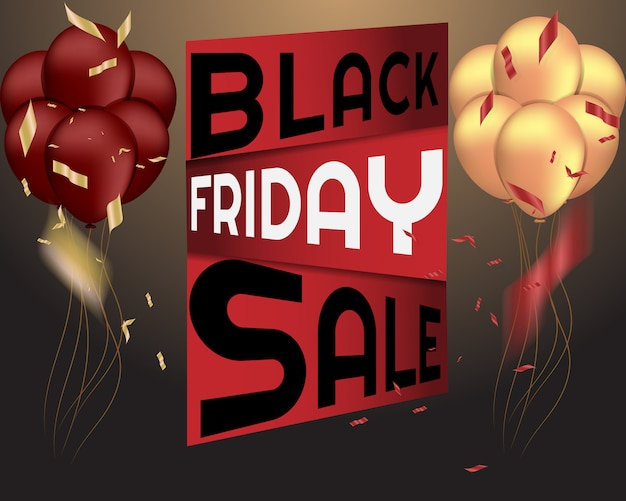 Black friday sale background with balloon and confetti.