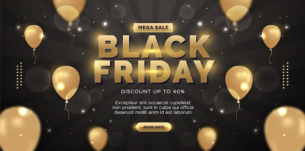 Black friday sale background with balloons. premium illustration.