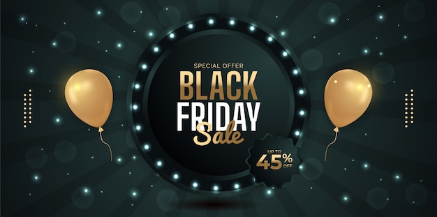 Black friday sale background with balloons.