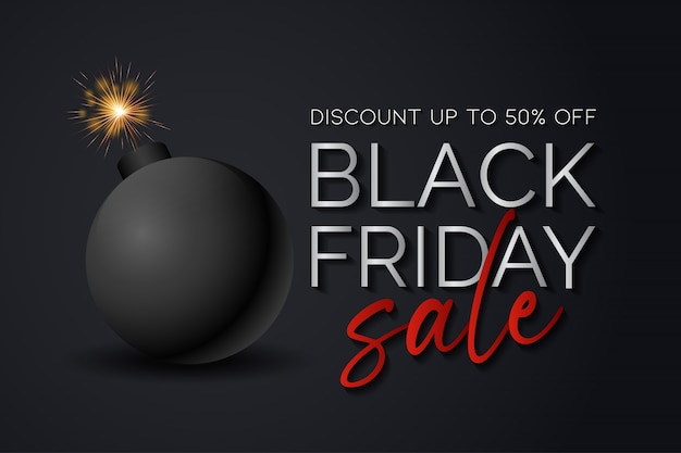 Black friday sale background   with a bomb ready to explode