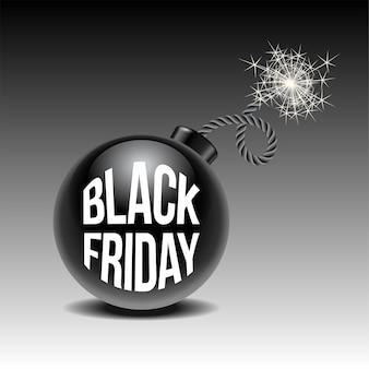 Черная пятница продажа фон с мультяшной бомбой, готовой взорваться. шаблон для рекламы продажи и скидки, образец для вашего баннера или плаката.