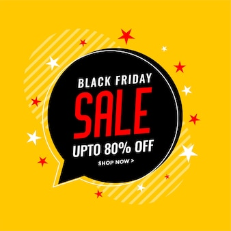 Black friday sale background with chat bubble and stars