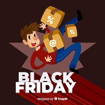 Black friday sale background with cute character in flat design