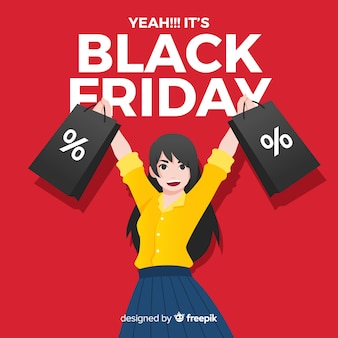 Black friday sale background with girl shopping