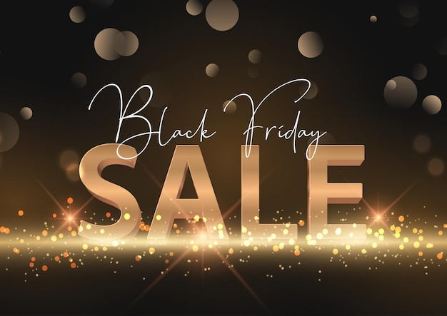 Black friday sale background with gold lettering and glittery lights
