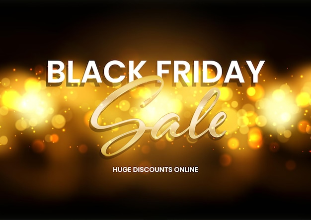 Sfondo di vendita del black friday con un design di luci bokeh dorate