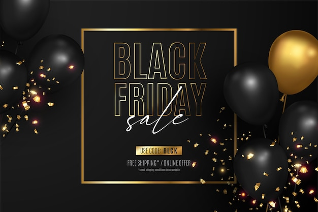 Black friday sale background with golden frame