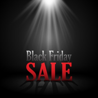 Black friday sale background with letters under a spotlight
