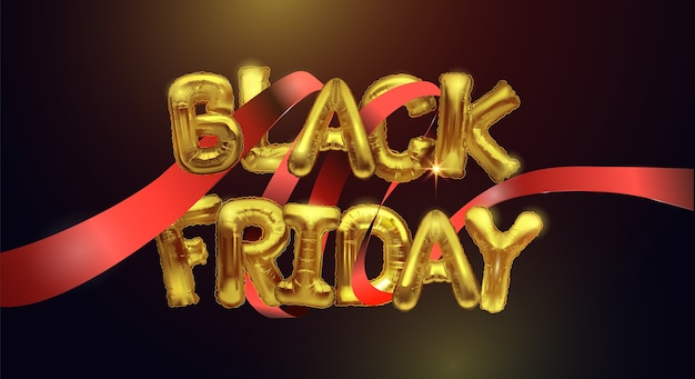 Black friday sale background with metal balloons on a dark background and red ribbon around. shiny gold letters.