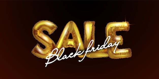 Black friday sale background with metal balloons on a dark background. shiny gold letters sale.