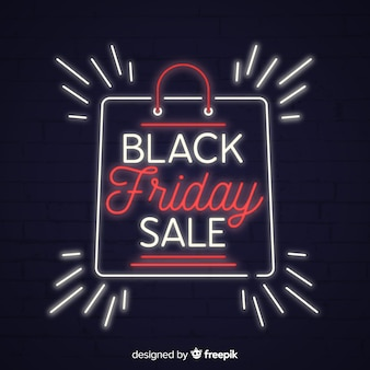 Black friday sale background with neon style