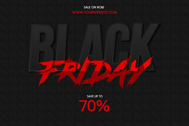 Black friday sale background with red brush text effect