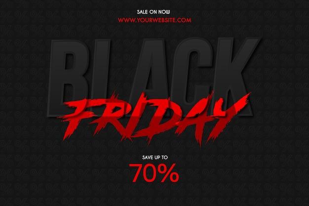 Черная пятница распродажа фон с текстовым эффектом красной кисти