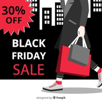 Sfondo di vendita venerdì nero con borse della spesa