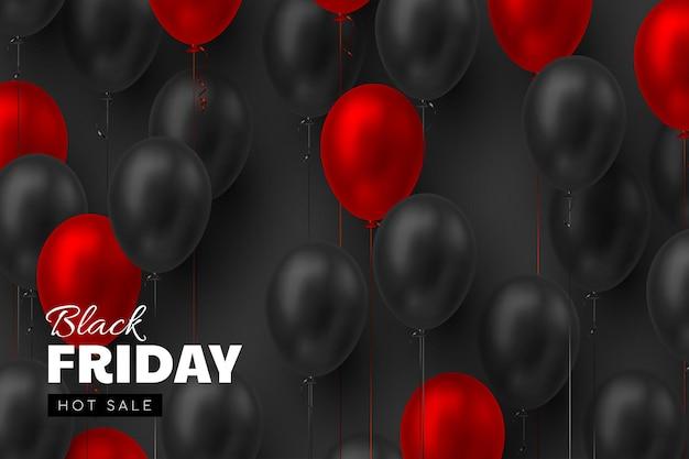 Черная пятница продажа баннер. 3d красные и черные реалистичные глянцевые воздушные шары. черный фон. векторная иллюстрация.