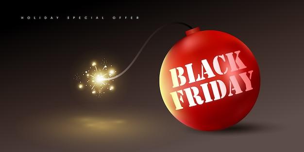 Черная пятница продажа баннер фон шаблон с красной бомбой.