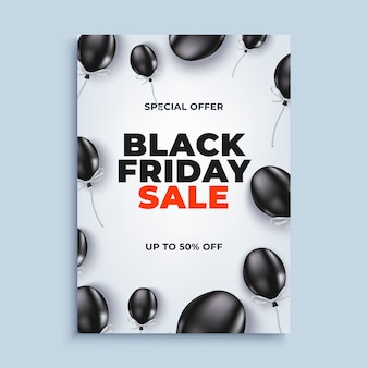 Black friday sale banner background with baloons poster