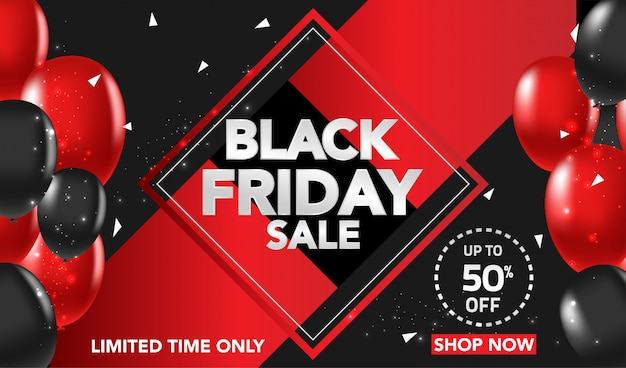 Black friday sale banner background with red and black ballons and conffeti