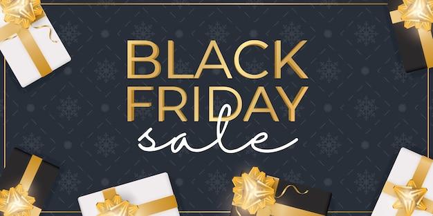 Черная пятница продажа баннер. черно-белые реалистичные подарочные коробки