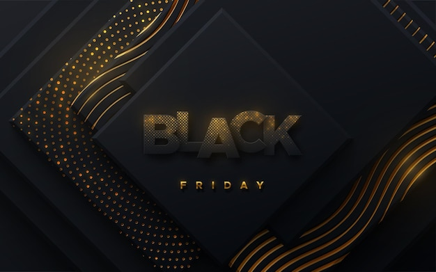 Black friday sale banner of black paper square shapes textured with golden glittering patterns