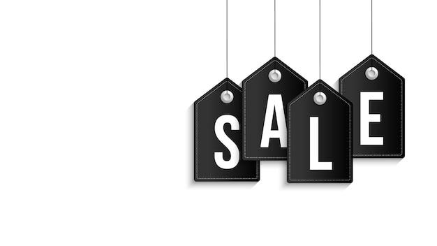 Black friday sale banner. black sale tag hanging on white background.