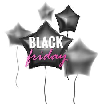 ブラックフライデーセールバナーは、ぼかし効果のある黒い色の3d光沢のある風船を飾りました