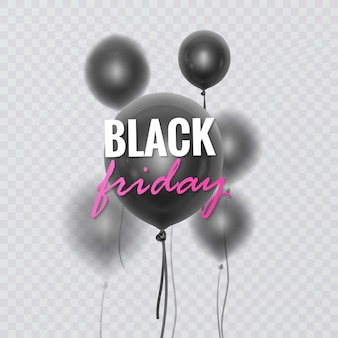 Black friday sale banner decorated with 3d glossy balloons with blur effect
