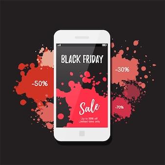 Черная пятница продажа баннеров. современный смартфон и краска кляксы на фоне.