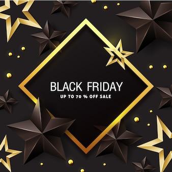 黒と金の星と黒い金曜日販売バナーデザインテンプレートです。