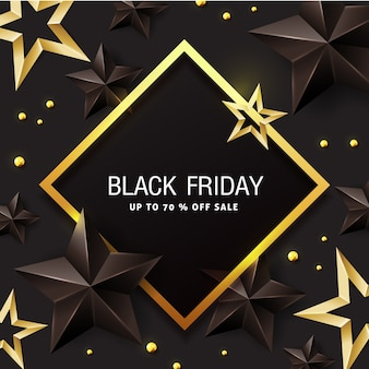 Black friday sale banner design template with black and gold stars.