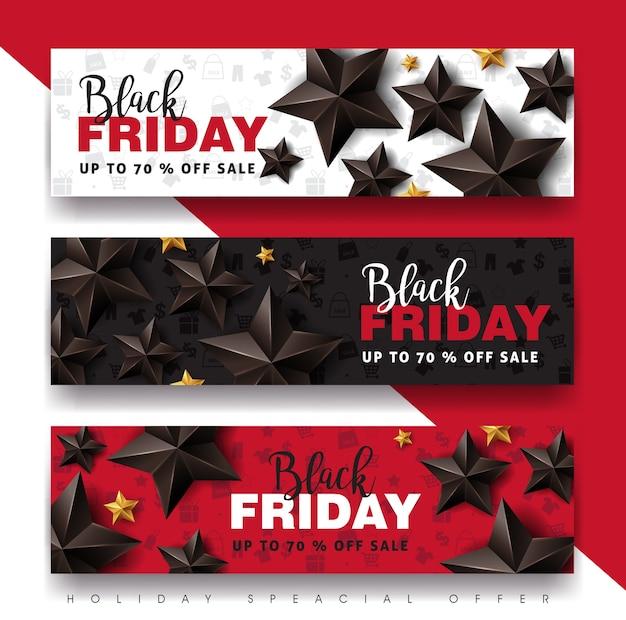 黒い星と黒い金曜日販売バナーデザインテンプレートです。