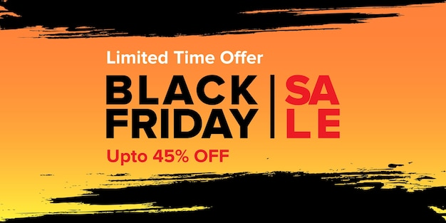 Black friday sale banner design with abstract brush stroke background