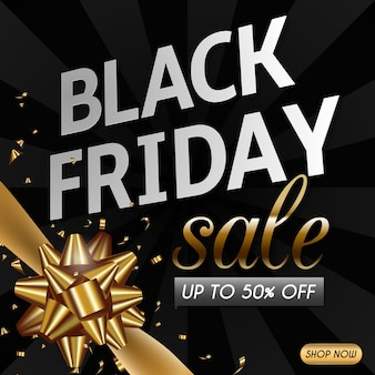 Black friday sale banner design with gold ribbon and bow.