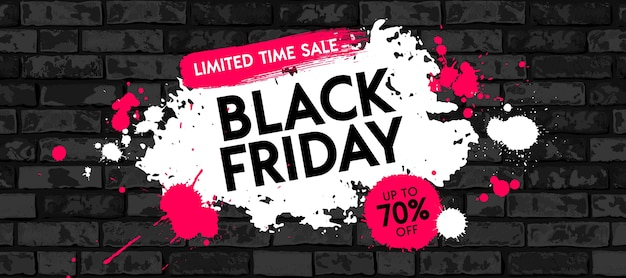 Black friday sale banner design with white and red paint stain on grunge brick wall background. limited time sale graphic poster.