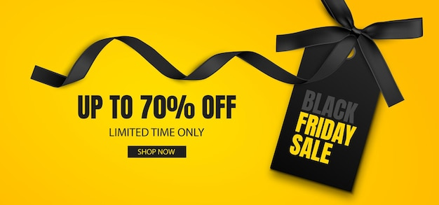Black friday sale banner discount background with black label and black ribbon with bow vector