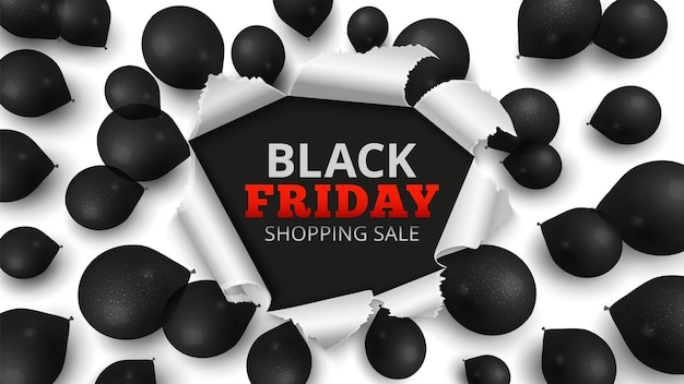 Black friday sale banner. discount background with realistic balloons. special offers in stores poster, seasonal ads template vector illustration. offer discount sale, friday black design