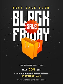 Black friday sale, banner or flyer design with shopping bags.