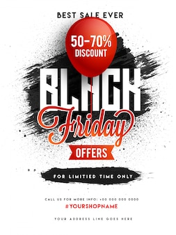 Black friday sale, banner or flyer design.