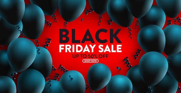 多くの黒い風船が付いている小売り、買い物または昇進のためのブラックフライデーセールバナー。ソーシャルメディアおよびウェブサイトのためのブラックフライデーバナーデザイン。今年の大セール特別オファー