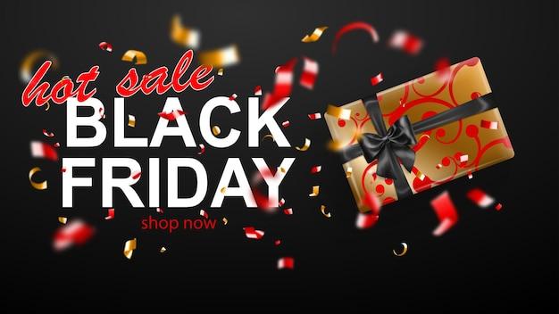 블랙 프라이데이 판매 배너입니다. 활과 리본이 있는 선물 상자. 어두운 배경에 반짝이는 흐릿한 빨간색과 노란색 색종이 조각과 뱀 조각을 날립니다. 포스터, 전단지 또는 카드에 대 한 벡터 일러스트 레이 션.