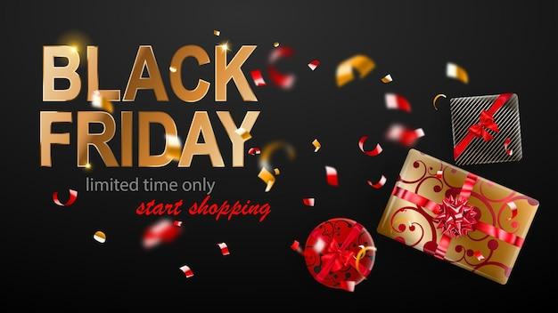블랙 프라이데이 판매 배너입니다. 활과 리본이 달린 선물 상자. 어두운 배경에 반짝이는 흐릿한 빨간색과 노란색 색종이 조각과 뱀 조각을 날립니다. 포스터, 전단지 또는 카드에 대 한 벡터 일러스트 레이 션.