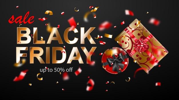 블랙 프라이데이 판매 배너입니다. 활과 리본이 어두운 배경에 있는 선물 상자