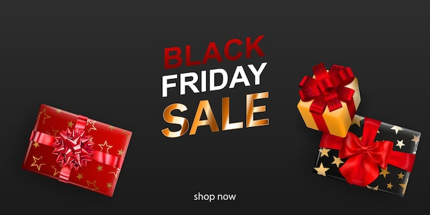 Black friday sale banner. gift box with bow and ribbons on dark background. vector illustration for posters, flyers or cards.