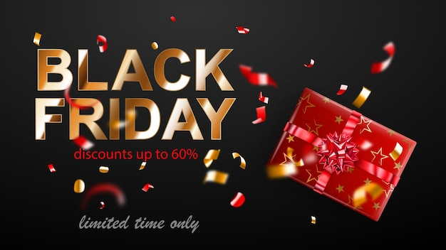 Black friday sale banner. gift box with bow and ribbons. flying shiny blurry red and yellow confetti and pieces of serpentine on dark background. vector illustration for posters, flyers or cards.