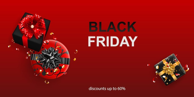 Black friday sale banner. gift box with bow and ribbons on red background. vector illustration for posters, flyers or cards.